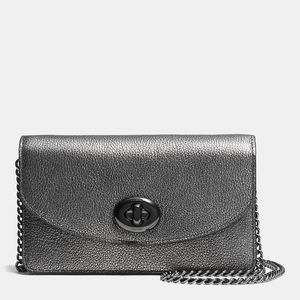 Coach Clutch Wallet On Chain in Metallic Leather